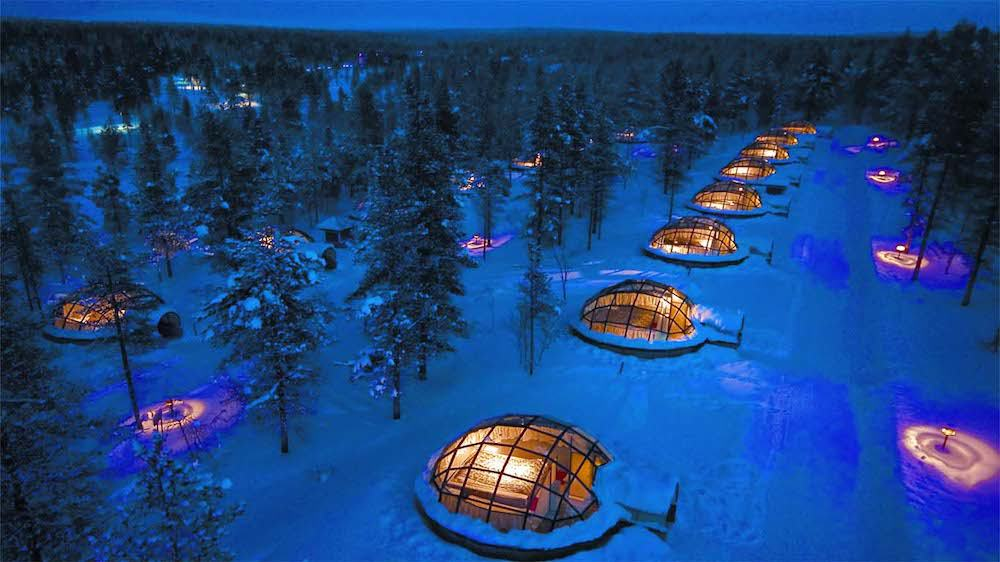 Rows of the Glass Igloo Village at Hotel Kakslauttanen Finland